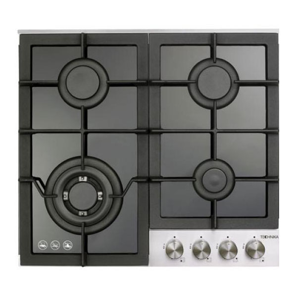 600mm Black glass Gas Cooktop